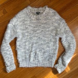 heather grey fuzzy pullover crew sweater / small